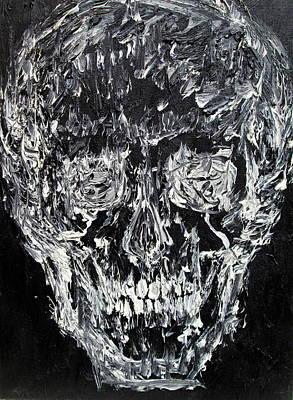 Human Head Painting - The Black Skull - Oil Portrait by Fabrizio Cassetta