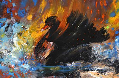 Swan Drawing - The Black Swan by Miki De Goodaboom