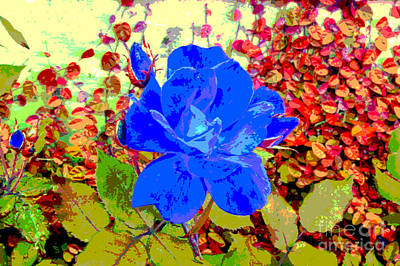 Flowers Digital Art - The Blue Blue Rose by Alys Caviness-Gober