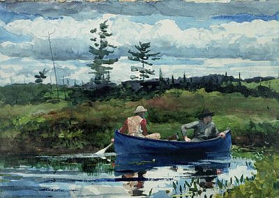 American Artist Painting - The Blue Boat by Winslow Homer