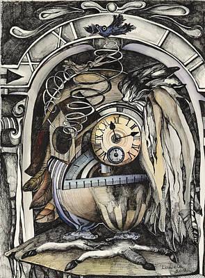Cuckoo Drawing - The Blue Cuckoo by Daniela Yordanova