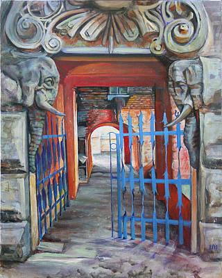 The Blue Gate Print by Marina Gnetetsky