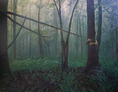 The Blue-green Forest Print by Derek Van Derven
