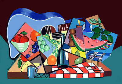 Watermelon Digital Art - The Blue Guitar by Anthony Falbo