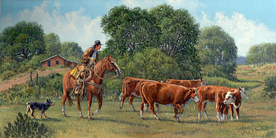 Cattle Drive Painting - The Blue Heeler by Randy Follis