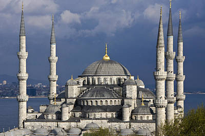 The Blue Mosque In Istanbul Print by Michele Burgess