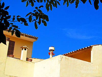 Ladnscape Photograph - The Blue Sky And Adobe Roof by Tina M Wenger