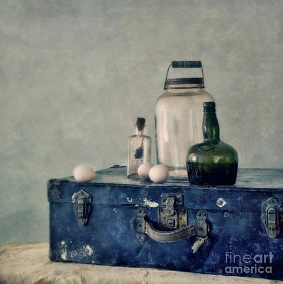 Bottle Photograph - The Blue Suitcase by Priska Wettstein