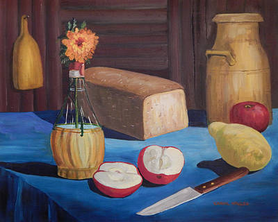 Table Cloth Painting - The Blue Tablecloth by Carol L Miller