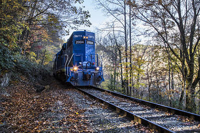 Caboose Photograph - The Blue Train by Debra and Dave Vanderlaan