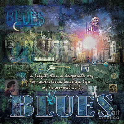 Musician Digital Art - The Blues by Evie Cook