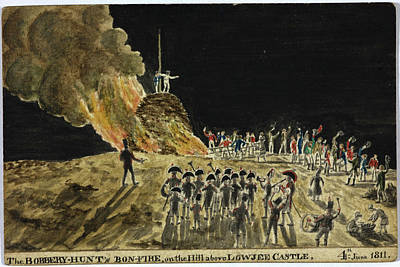 The Bobbery Hunt's Bonfire Print by British Library