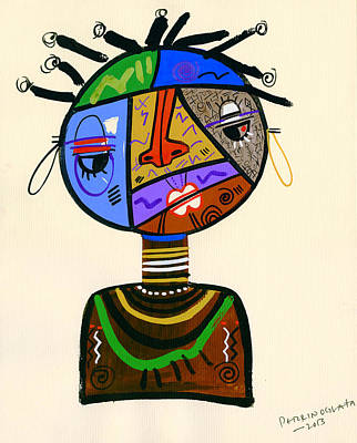 Contemporary Tribal Art Painting - The Bold Face Of Time by Oglafa Ebitari Perrin