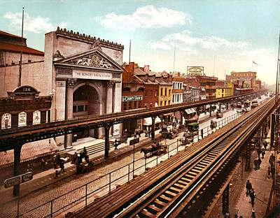 The Bowery New York City 1900 Print by Unknown