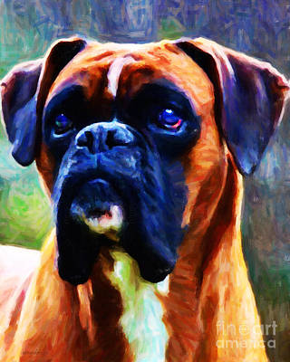 Boxer Puppy Digital Art - The Boxer - Painterly by Wingsdomain Art and Photography