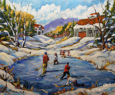 Hockey Players Painting - The Break Away By Prankearts by Richard T Pranke