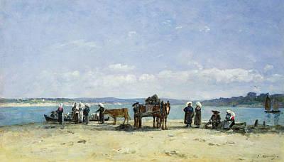 The Breton Fishermens Wives Print by Eugene Louis Boudin