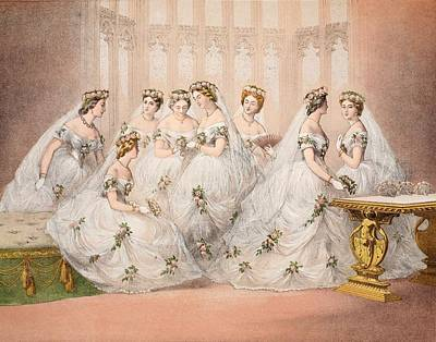 Wedding Dress Drawing - The Bridesmaids, 10th March, 1863 - Marriage Of Edward Vii And Alexandra Of Denmark by English School