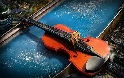 Violin Digital Art - The Bridge by Alessandro Della Pietra