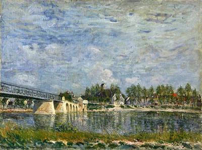 Alfred Sisley Painting - The Bridge At Saint-mammes by Alfred Sisley