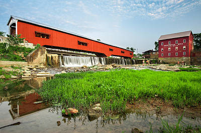 Indiana Photograph - The Bridgeton Mill And Covered Bridge - Indiana by Gregory Ballos