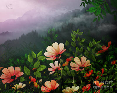 The Brighter Side Of The Dark Mountains Print by Bedros Awak