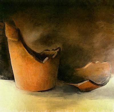 Ceramics Digital Art - The Broken Terracotta Pot by Michelle Calkins