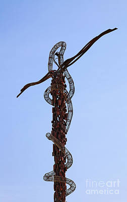 The Bronze Brazen Serpent Sculpture At Mount Nebo Jordan Print by Robert Preston