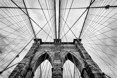Wire Photograph - The Brooklyn Bridge by John Farnan