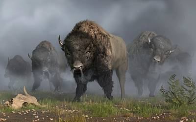 Bison Digital Art - The Buffalo Vanguard by Daniel Eskridge