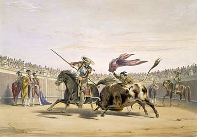 Bullfighter Drawing - The Bull Following Up The Charge, 1865 by William Henry Lake Price