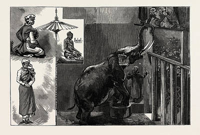 Burmese Python Drawing - The Burmese Priests And Mr by English School