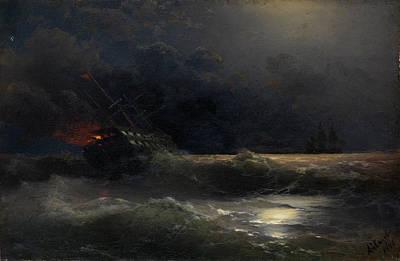 Aivazovsky Painting - The Burning Ship by Ivan Konstantinovich Aivazovsky