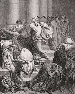 Beating Drawing - The Buyers And Sellers Driven Out Of The Temple by Gustave Dore