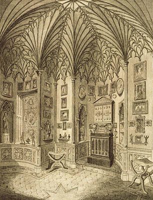 Interior Design Drawing - The Cabinet, Engraved By T. Morris by English School