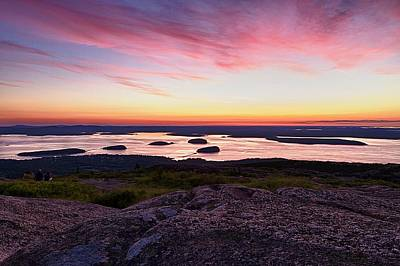 Coastal Maine Photograph - The Cadillac Mountain Sunrise Club by Jeff Sinon