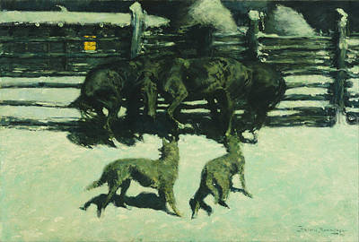 The Call For Help Print by Frederic Remington