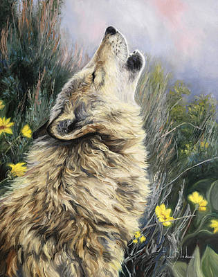 Gray Wolf Painting - The Call by Lucie Bilodeau