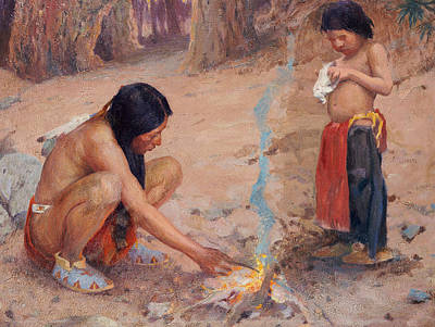 Father Painting - The Campfire by EI Couse