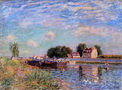 Alfred Sisley Painting - The Canal At Saint-mammes by Alfred Sisley