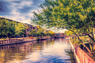 Clouds Photograph - The Canal In Downtown Scottsdale by Fred Larson