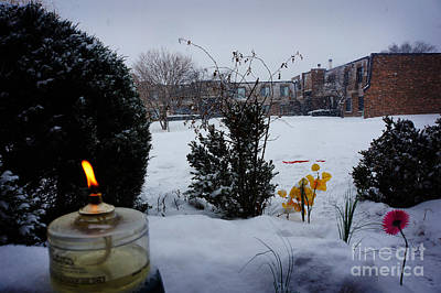 Christmas Photograph - The Candle In The Snow by Celestial Images