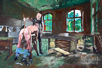 Bdsm Painting - The Cane - Der Rohrstck - 2554 by Lars  Deike