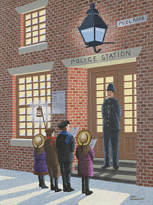 Police Christmas Card Painting - The Carolers by Peter Szumowski