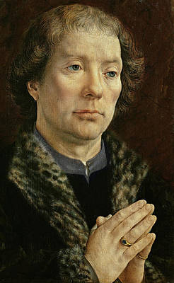Besancon Painting - The Carondelet Diptych Left Hand Panel Depicting Jean Carondelet 1469-1545 Dean Of Besancon Church by Jan Gossaert
