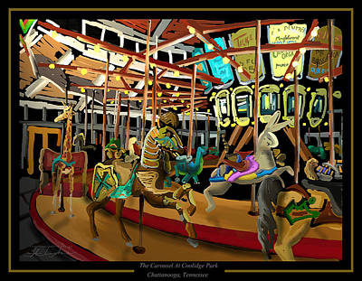 The Carousel At Coolidge Park - Chattanooga Landmark Series - #6 Print by Steven Lebron Langston