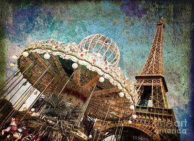 The Carrousel Of The Eiffel Tower Print by Delphimages Photo Creations