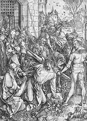 Father And Son Drawing - The Carrying Of The Cross by Albrecht Durer or Duerer