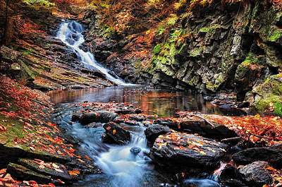 New Hampshire Autumn Photograph - The Cascades Of Chesterfield Gorge by Thomas Schoeller
