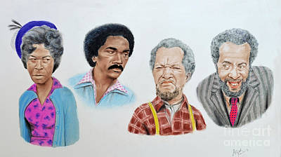 The Cast Of Sanford And Son  Print by Jim Fitzpatrick